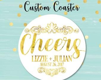 Cheers Coaster, Wedding Coaster, Personalized Coasters, Custom Coaster, Bar Coaster, Wedding Favors, Corporate Coaster, Business Coaster