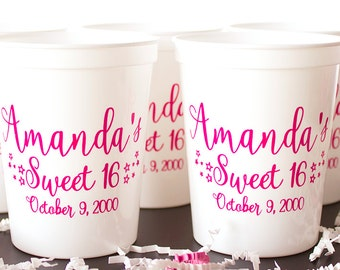 Sweet 16 Cups, Birthday Cups, Personalized Cups, Party Cups, Birthday Favors, Plastic Birthday Cup, Event Cups, Stadium Cups, Wedding Cups