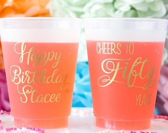 50th Birthday Cup, 50th Birthday Party, Cheers to 50 Years, Frosted Cups, Personalized Cups, Custom Cups, Birthday Decor, Happy Birthday