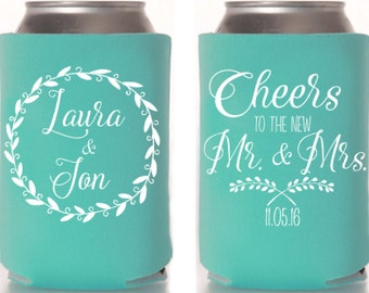 Rustic Wedding, Rustic Wedding Favor, Personalized Can Cooler, Country Wedding, Wedding Decor, Custom Hugger, Can Coolie, Beer Can Cooler