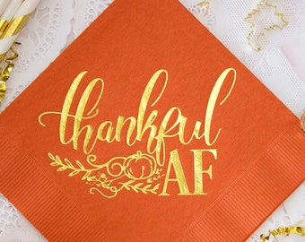 Thankful Napkins Just Here For The Pie Thanksgiving BeverageCocktail Napkins Thanksgiving Napkins