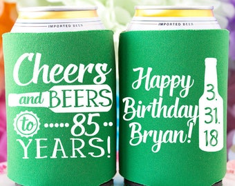 Cheers Beers To 85 Years 85th Birthday Party Favors Personalized Can Cooler Happy Gift Milestone Ideas For Him