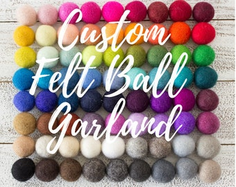 Custom Felt Ball Garland, Pom Pom Garland, Felt Ball Bunting, Felt Pom Poms, Nursery Decor, Baby Shower Garland, Kids Room Decor, Wool Balls