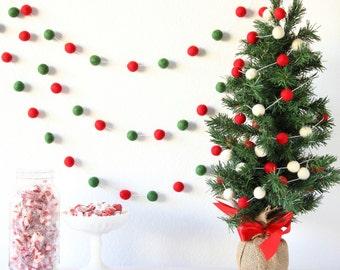 christmas garland pom pom garland felt banner felt garland mantle decor xmas tree decor rustic tree trim wall hanging party decor - Felt Christmas Garland