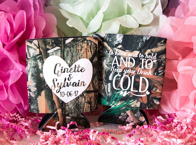 Camo Wedding Favors Camo Can Cooler Hunting Wedding Rustic Etsy