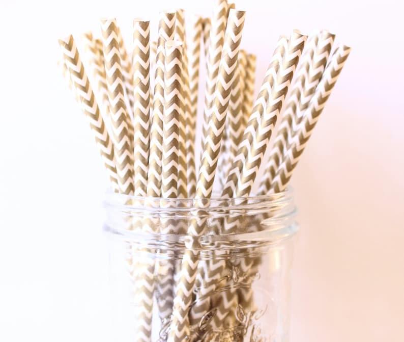 Paper Straw Party Straws Gold Wedding Decor Gold Paper Chevron Straws 25 Rustic Wedding Metallic Gold Straw Gold Party Straws