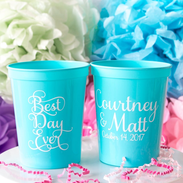 Custom Cups Wedding Cups Reception Cups Best Day Ever Cups