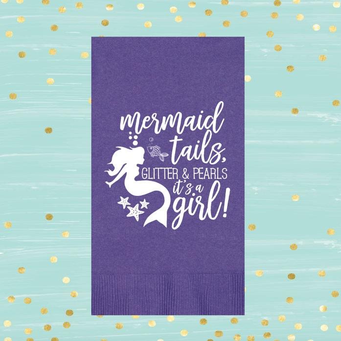 Mermaid Guest Towels: Mermaid Baby Shower Baby Shower Decor Guest Towels Baby