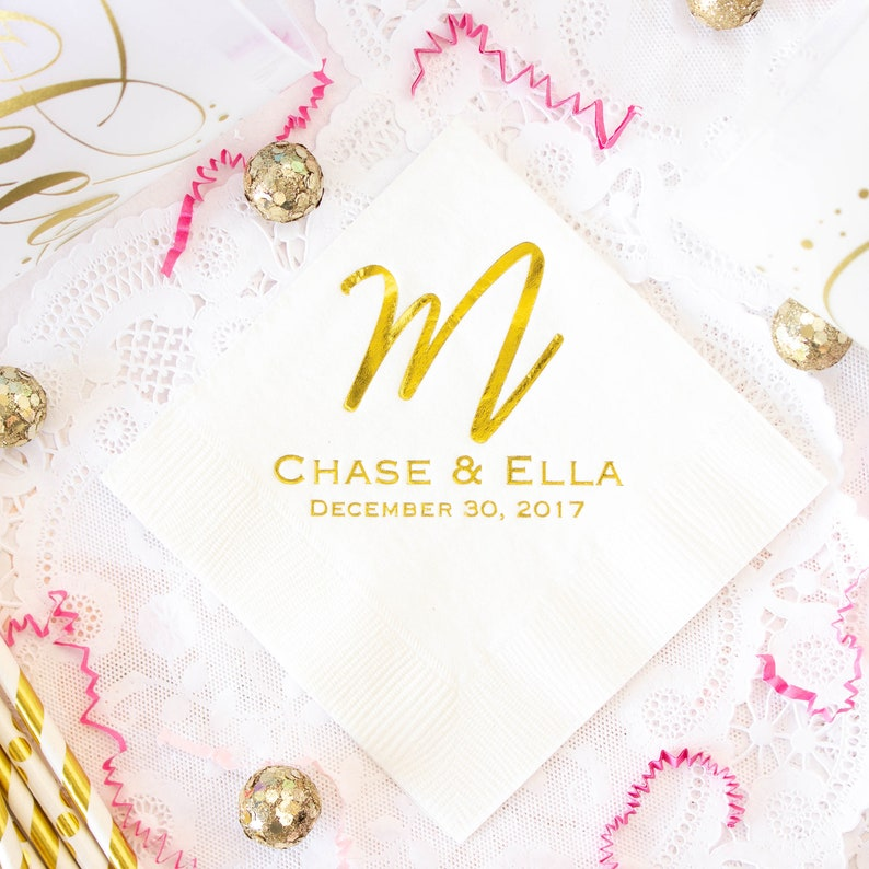 Personalized Wedding Napkins for Wedding Favors for Guests Gold Foil Napkins Custom Party Napkins Beverage Napkins Rehearsal Dinner Party