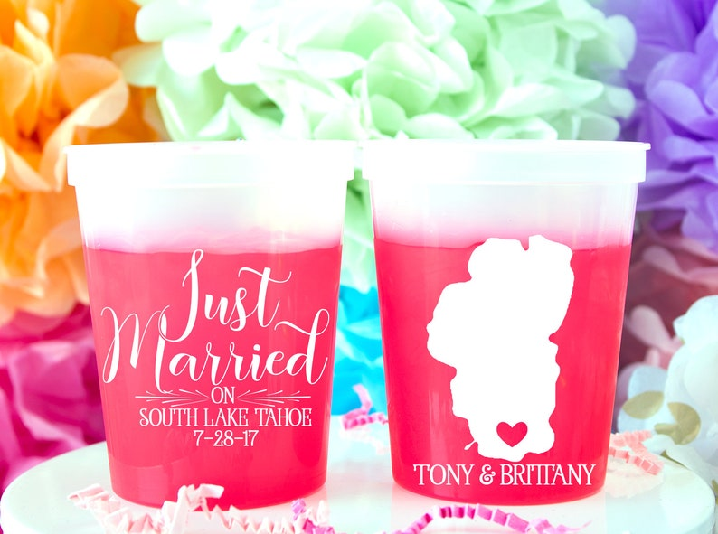 758a088b027 Just Married Cups Lake Wedding Favors for Guests Lake Tahoe   Etsy