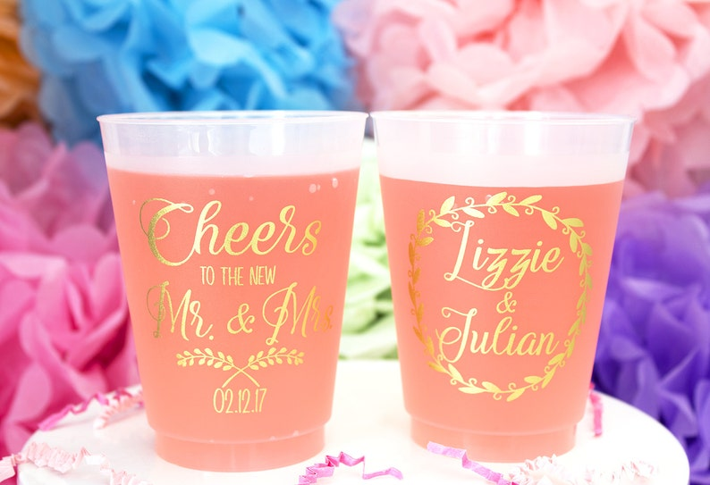 Personalized Plastic Cup Wedding Party Cups Frosted Cups image 0