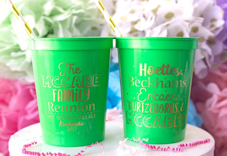Party Cups Personalized Cups Family Trip Cups Family Name Cups Family Reunion Cups Event Stadium Cup Family Reunion Gift Plastic Cups