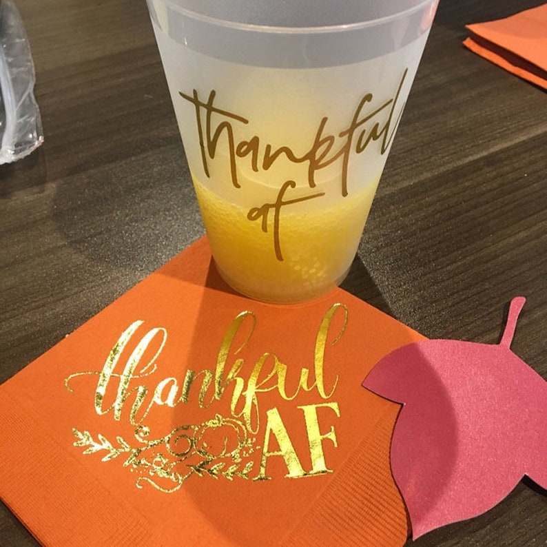 Thankful As Fuck Frosted Cups Thanksgiving Dinner Shatterproof Cups Thanksgiving Cups Holiday Cup Thankful AF Cups Thanksgiving Party
