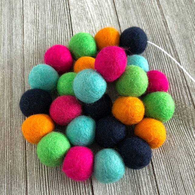 Pom Pom Garland Felt Ball Garland Felt Balls Nursery Decor Bunting Felt Garland Wool Balls Baby Shower Kids Room Decor Blue Green Pink