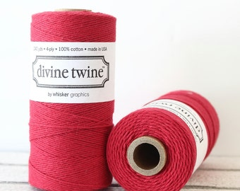 Red Bakers Twine, Red  Divine Twine, Red Twine, Christmas Twine, Gift Packaging, Favor Tag Twine, Mason Jar Twine, Red String,