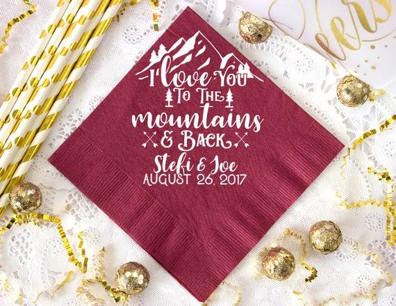 Any State Party Napkin Destination Wedding Wedding Napkin Mountain Wedding Napkins Anniversary Napkins 1629 Mountains Wedding Favors