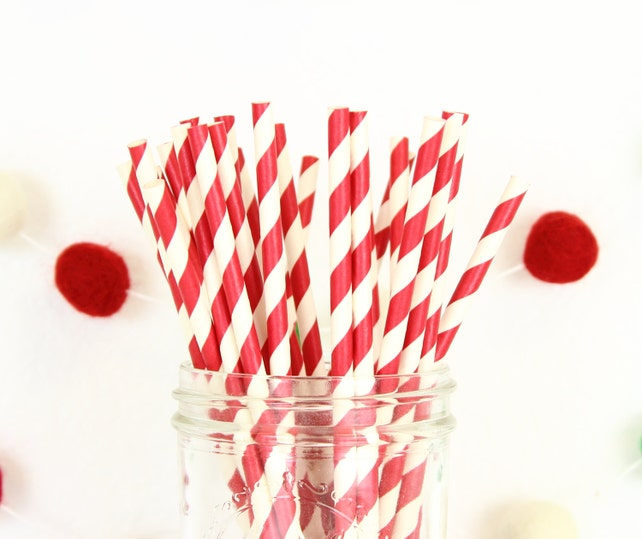 25 Red Stripe Paper Straws, Holiday Paper Straw, Red Paper Straws, Red Party Straws, Red Drinking Straws, Stripe Paper Straws