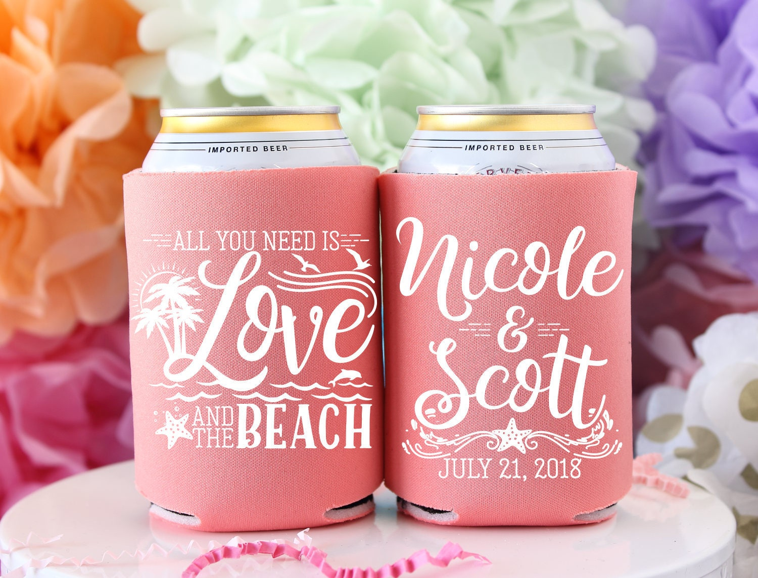 Personalized Wedding Favors Love and the Beach Custom Can | Etsy