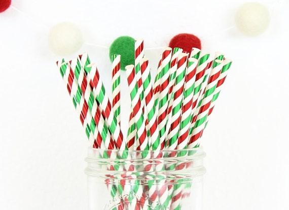Christmas Straws, Paper Straws, Foil Straws, Christmas Party, Holiday Straws, Red Straws, Drinking Straws, Gift Under 5, Stocking Stuffer