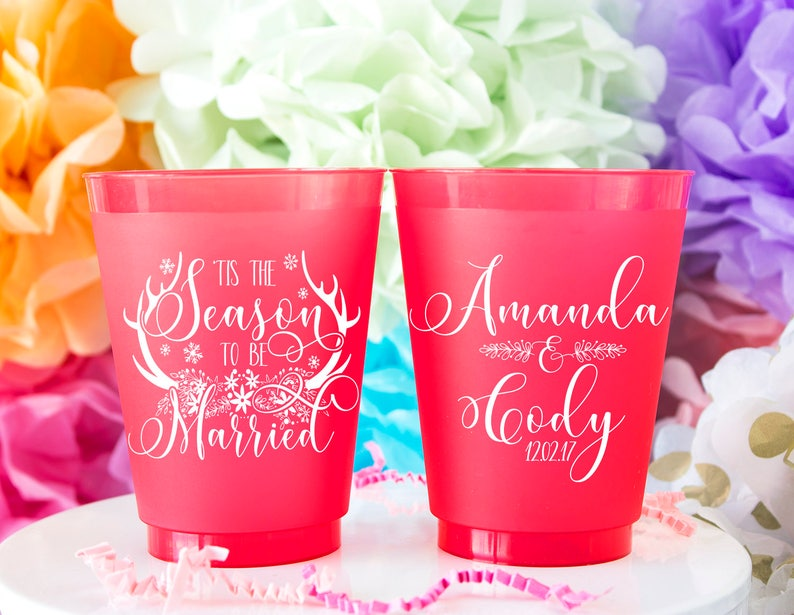 Holiday Wedding Woodland Wedding Frost Cups Christmas Wedding Cups Floral Wedding Boho Wedding Favor Antler Wedding Personalized Cups