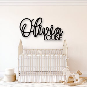 Personalized Stacked Wooden Two Name Sign for Nursery