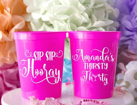Sip Sip Hooray Stadium Cup - Dirty 30 Decor - Thirsty Thirty Decor - 30th Birthday Party - Custom Birthday Favors - 1988 Birthday