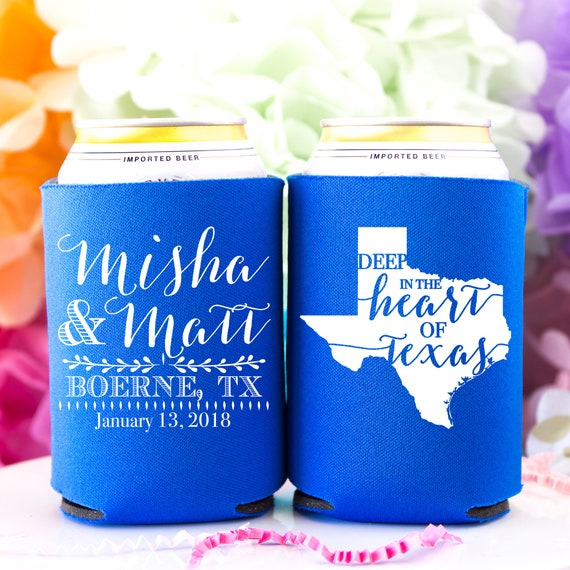 Texas Wedding Favors Wedding Can Coolers Unique Wedding Favors Etsy