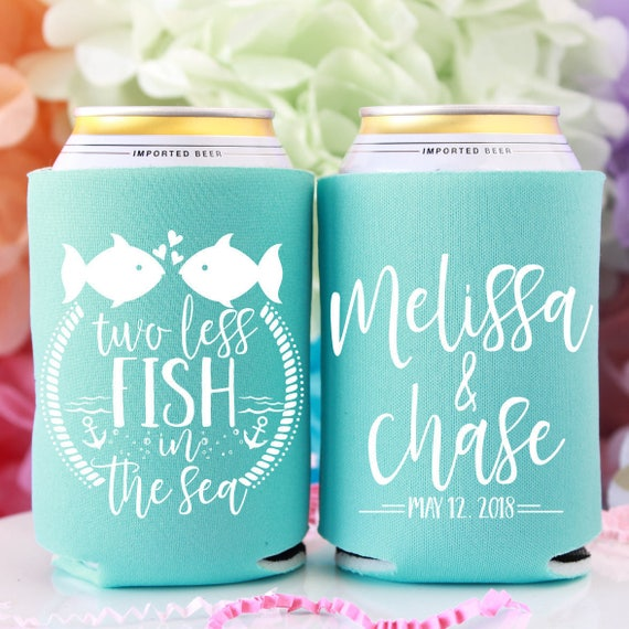 Two Less Fish In The Sea Custom Can Coolers Fish Wedding Etsy