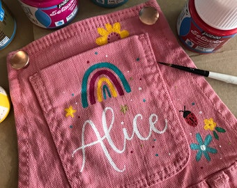 Kids Customised Design on Clothing / Diddy Dungarees / Diddy Jacket / Flower Girl