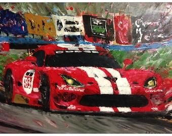 Dodge Viper fine art print original painting car abstract speed Le Mans Grand Prix racing men gift
