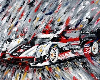 Audi R18 fine art print original painting car abstract speed Le Mans racing men gift