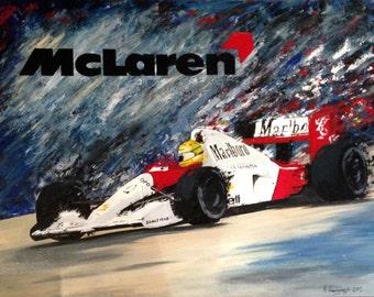 original art McLaren MP4/6 Formula 1 F1 Car Racing Print Ayron Senna