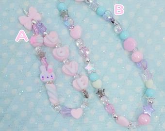 Kawaii Pastel Phone Beads | Cute Phone Strap | Phone Decoration | 2 in 1 Bracelet | Phone Bracelet