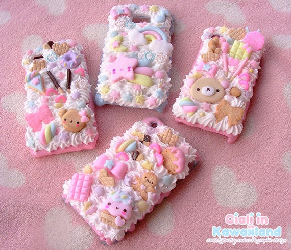 los angeles b0e34 3df22 Kawaii decoden phone case, whipped cream effect case, cute iphone galaxy  phone case, phone shell, available for iphone, samsung, sony etc.