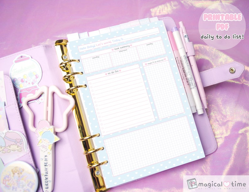 Kawaii A5 TO DO LIST Printable Pdf , Pastel Planner Insert, Cute  Stationery, Kikki K, Filofax, Dokibook, , Productivity, Back To School