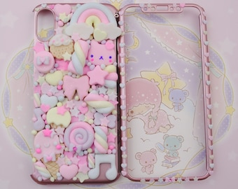 Kawaii Decoden Phone Case, Sweet Cookies Friend Phonecase for Iphone 5 6 7 8 X 11 pro plus and Samunsg Galaxy s6 s7 s8 s9 s10 note