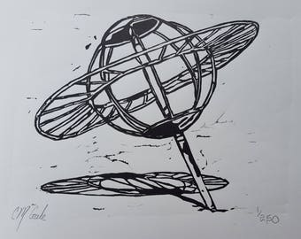 Spaceland Playground Planet Sculpture Central Park, Schenectady Linoleum Block Print, Letterpress, 8x10 Fine Art Print, Linocut, Retro Art
