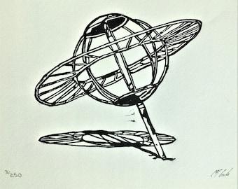 Spaceland Playground Planet Sculpture Linoleum Block Print