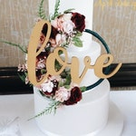 floral hoop cake topper - burgundy and blush wedding decoration - wedding cake topper - flower cake topper