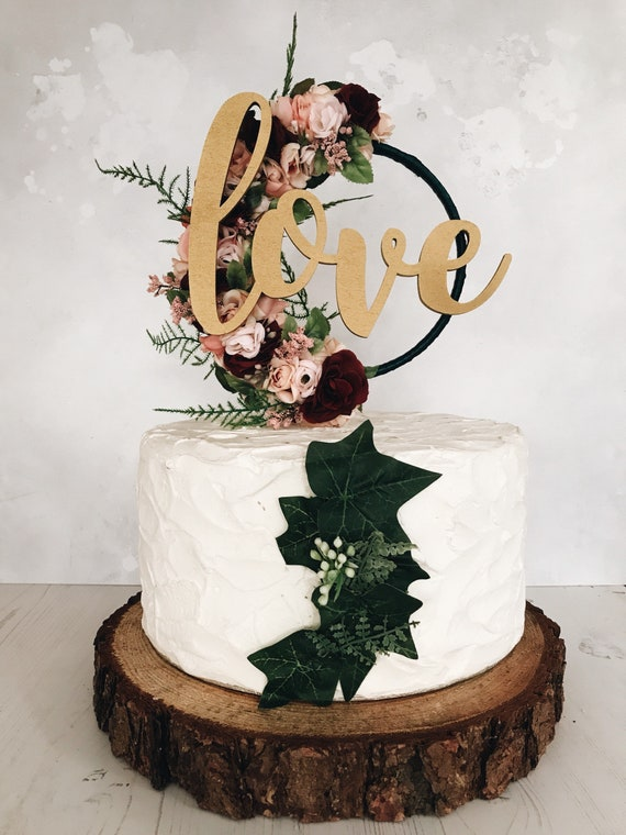 floral hoop cake topper burgundy and blush wedding | Etsy