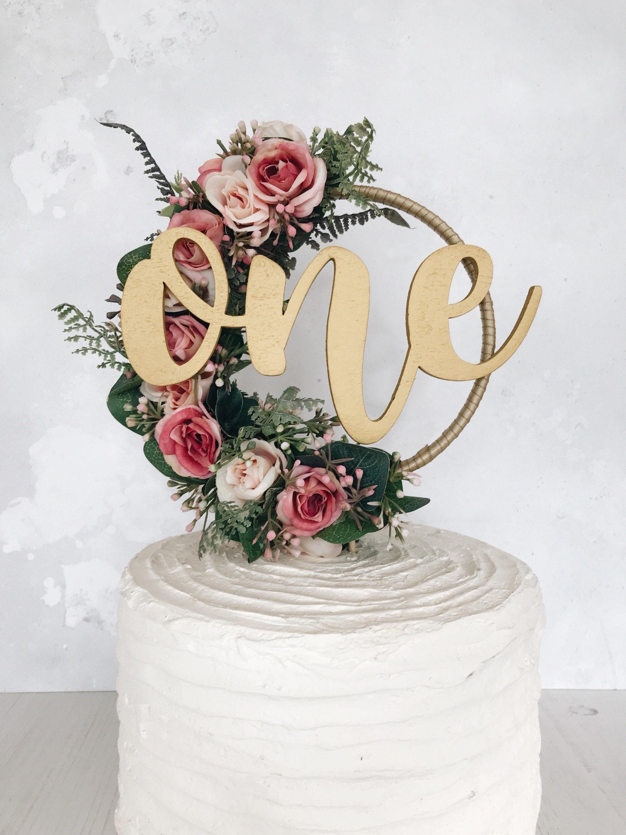 boho floral hoop cake topper wedding cake topper floral | Etsy