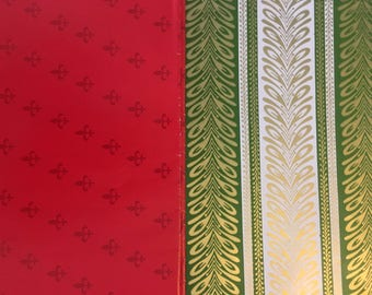 Vintage Christmas Theme Colored Wrapping Paper 5 Full Sheets