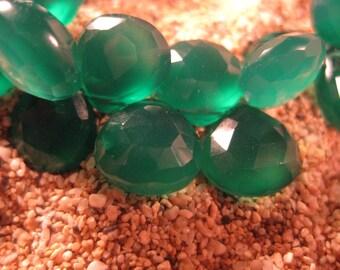 AAA Green Onyx Heart Briolette 4 Beads