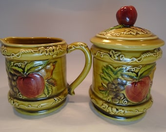 Lefton China Pear and Apple Vintage  Cream and Sugar Harvest Fruit 3743