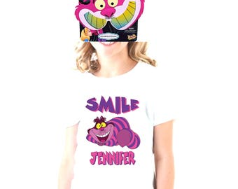 Personalized Cheshire Cat Tee Shirt with sunglasses
