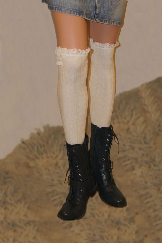 98ac609b4f4f5 Over The Knee Ivory Boot Socks Leg Warmers Women s