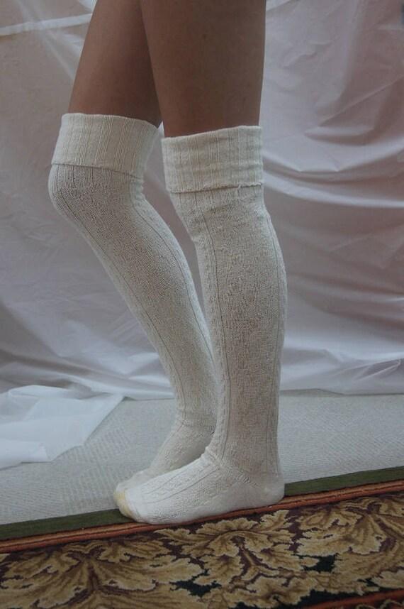 Over the Knee socks Ivory chunky thick warm socks Tall Socks  92a18cd98b956