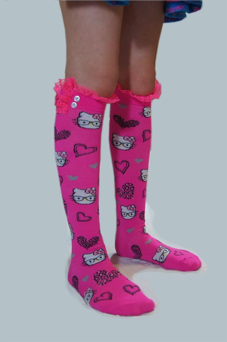 ec17d24323f Rosa niñas calcetines altos calcetines de la rodilla gato | Etsy