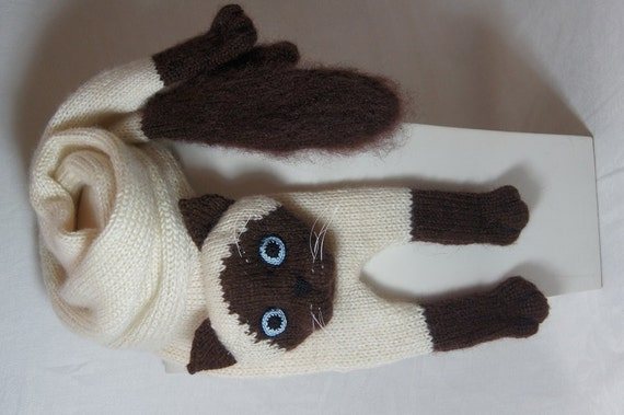 knitting Animals Cat Mohair Long Scarf Siamese Cat Scarf