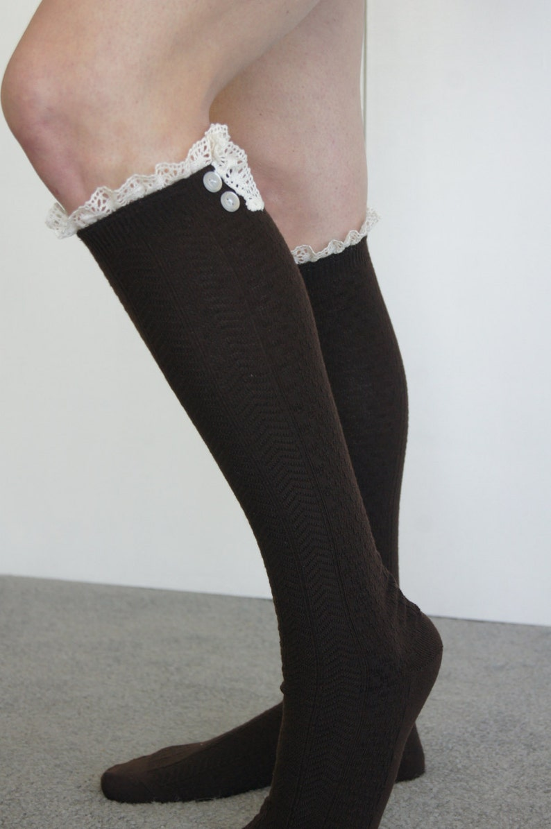 3c8f9cadf Black Boot Socks Knee Socks Trim on top White Lace and